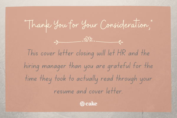 Example of alternative to writing Sincerely in a cover letter