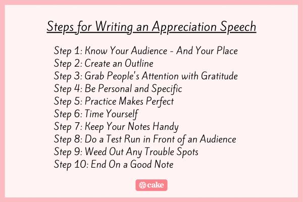 Steps for writing an appreciation speech