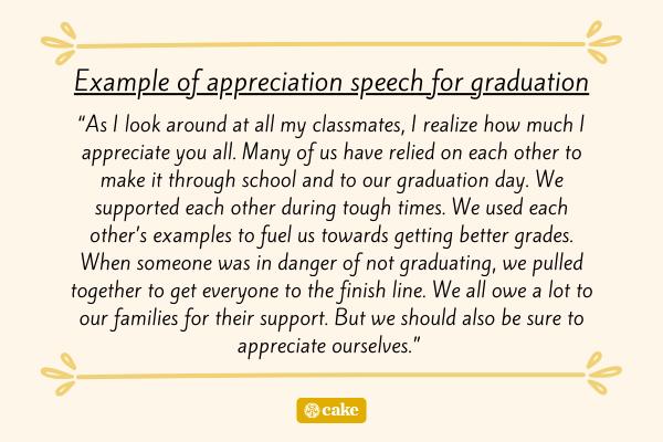 Example of appreciation speech for graduation