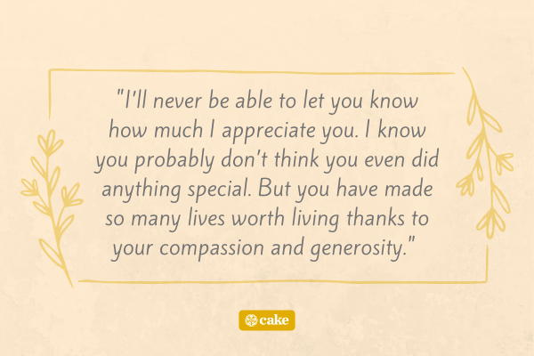 Quote for example of appreciation speech for mom, dad, grandma, or grandpa