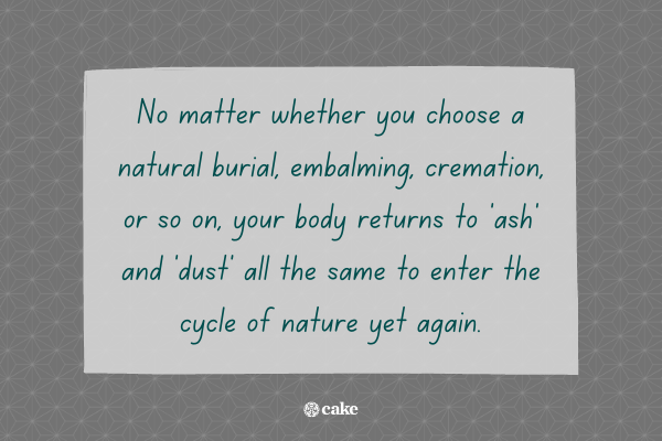 Text about our bodies turning to ash and dust