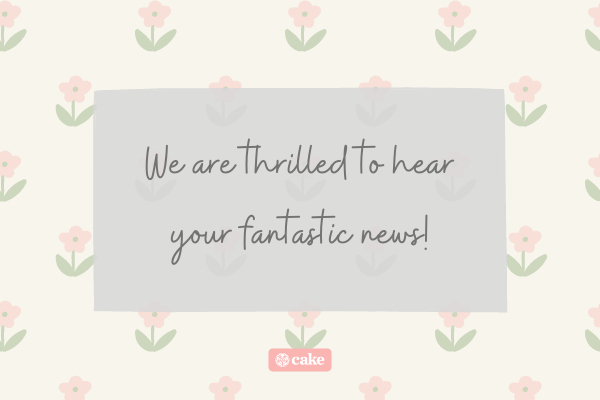 Congratulations message with flowers in the background