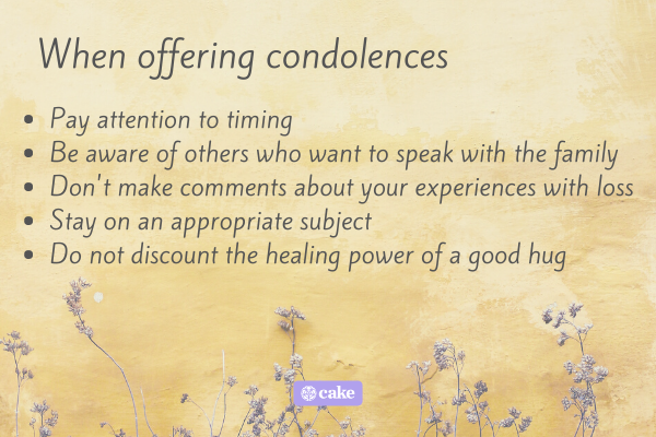 Tips on things to remember when offering condolences
