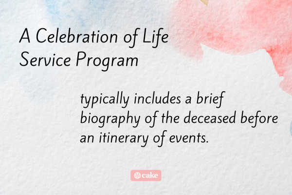 Definition of what a celebration of life service program includes