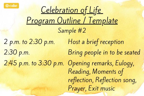 Celebration of Life Program Outline / Template Sample