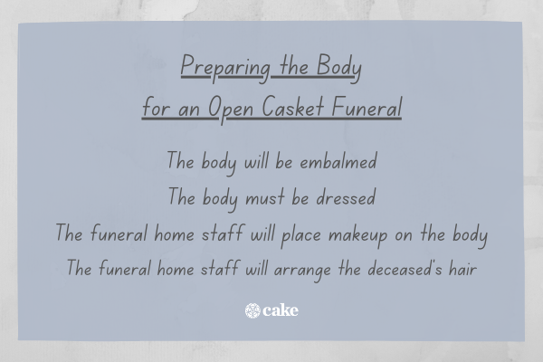 List of what the funeral home does to prepare a body for an open casket funeral