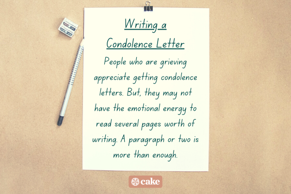 Tip for writing a condolence letter with an image of a sheet of paper and writing utensils
