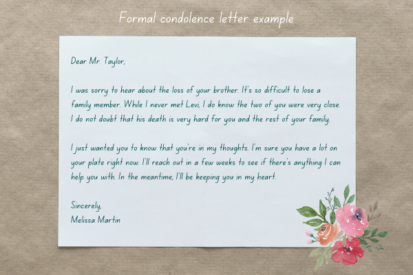 Example of a formal condolence letter with an image of a sheet of paper and flowers and leaves