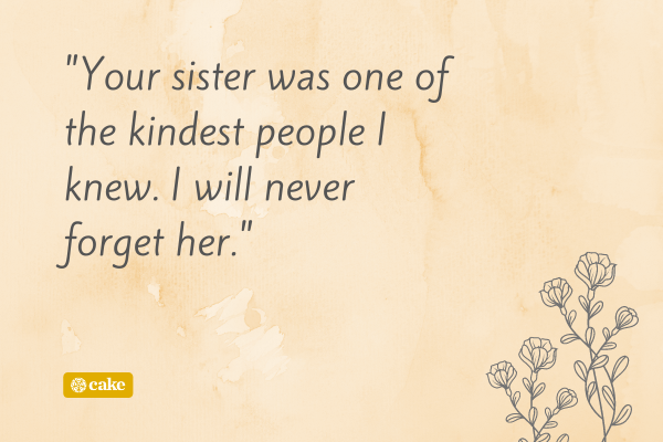 Condolence message for loss of a sister