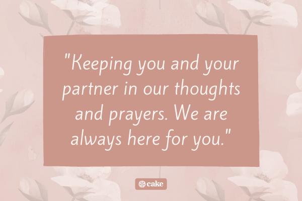 Condolence message for pregnancy loss