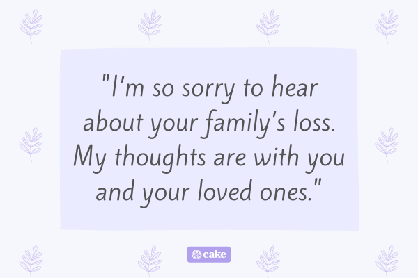 Condolence message for a family