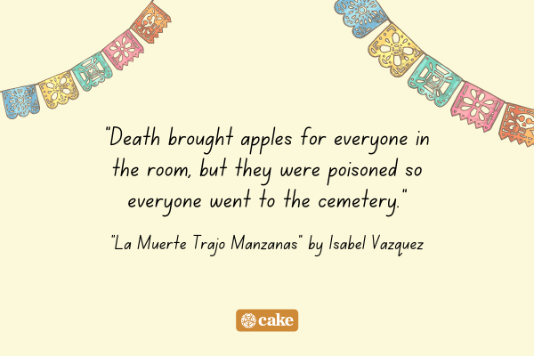 An excerpt from a Day of the Dead poem with images of Mexican decorations