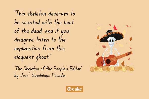 An excerpt from a Day of the Dead poem with an image of a skeleton