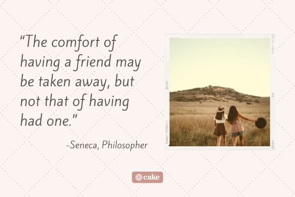 Quote about the death of a friend with image of two friends walking in a field