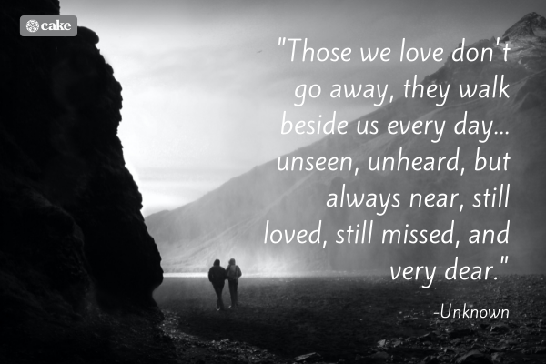 Quote about the death of a friend with image of two friends walking