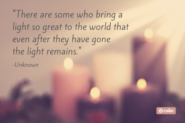 Quote about the death of a friend with an image in the background of candles