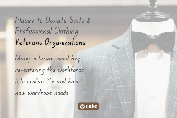 Example of where to donate professional clothing over an image of a suit