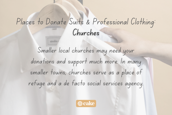 Example of where to donate professional clothing over an image of professional clothing