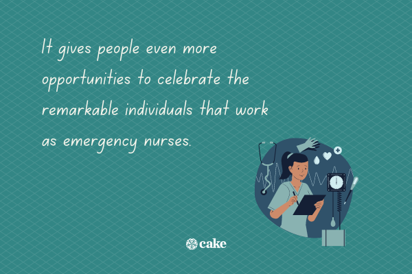 Text about National Emergency Nurses Week with an image of a nurse