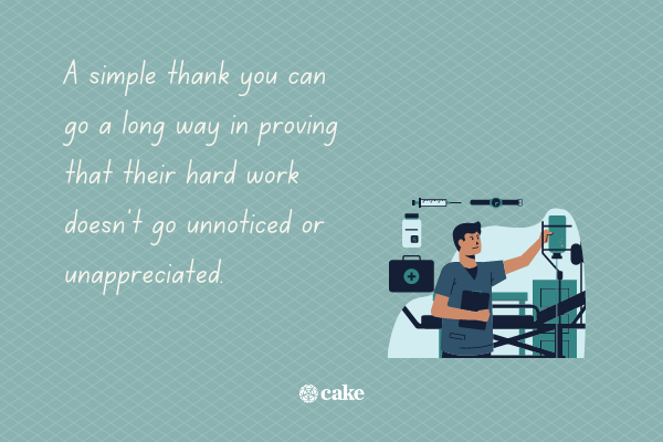 Text about thanking nurses with an image of a nurse