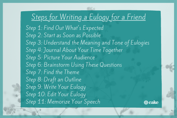 Steps for writing a eulogy for a friend