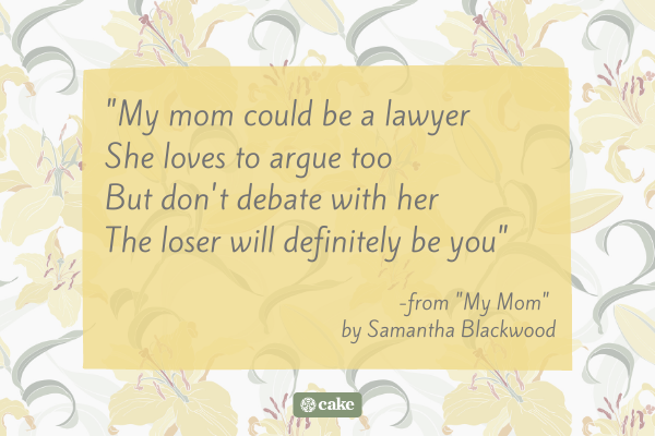 Quote from a funny funeral poem for mom