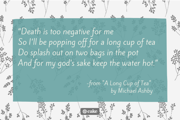 Quote from a funny funeral poem for an aunt or uncle