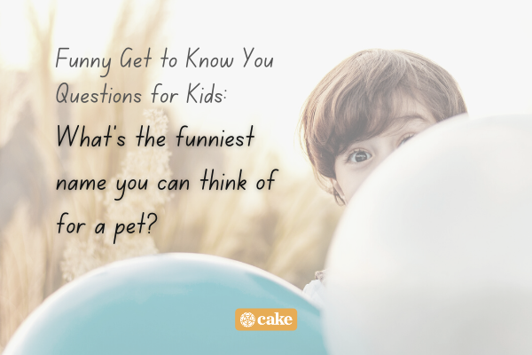 Example of a question to get to know someone over an image of a kid