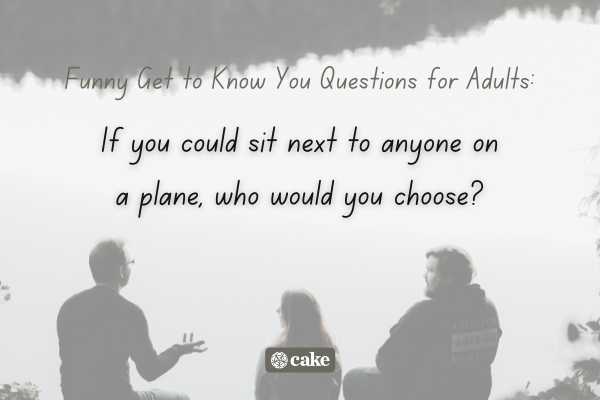Example of a question to get to know someone over an image of people talking