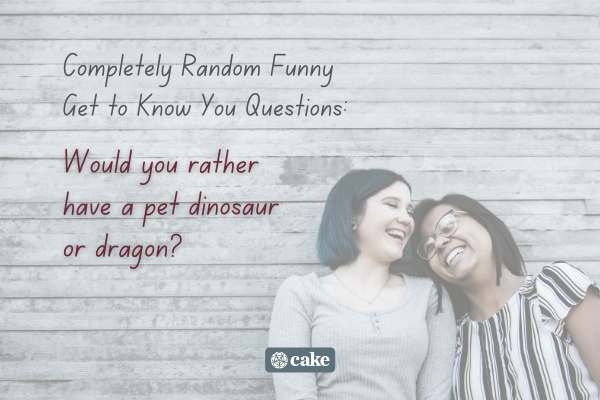 Example of a question to get to know someone over an image of two people laughing