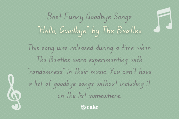 Example of a funny goodbye song with images of music notes