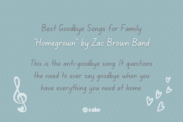 Example of a goodbye song for family with an image of music notes and hearts