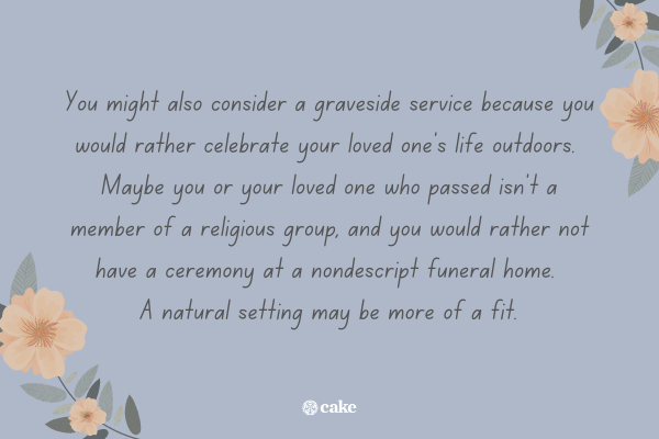 Text about why to consider a graveside service
