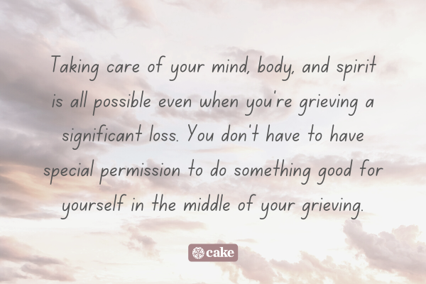 Text about self-care while grieving overlaid on an image of the sky and clouds