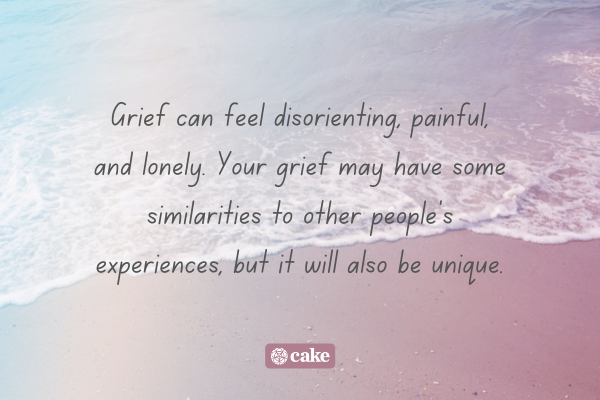 Text about grief overlaid on an image of a beach