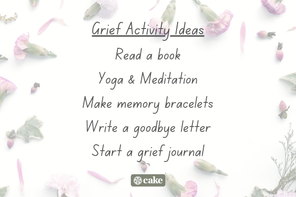 List of grief activity ideas overlaid on an image of flowers and leaves