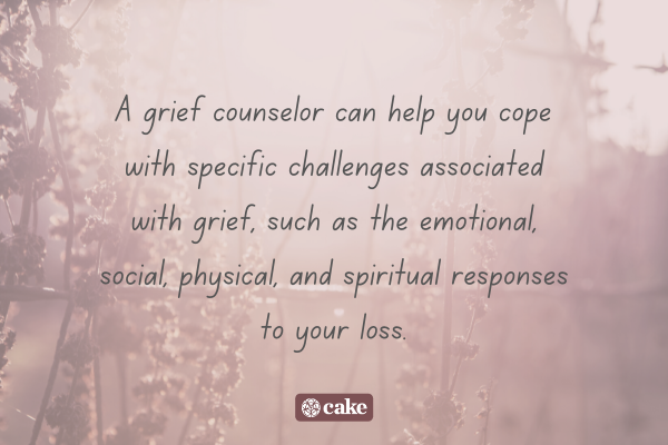 Text about what a grief counselor does overlaid on an image of flowers