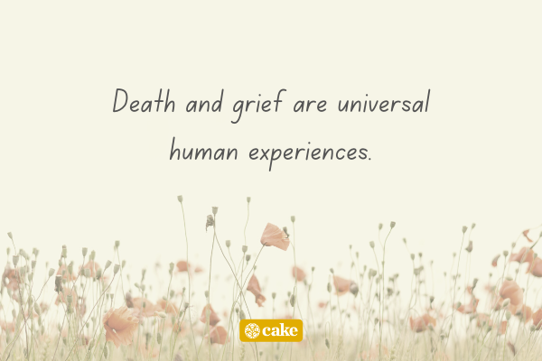 Text about death and grief overlaid on an image of flowers