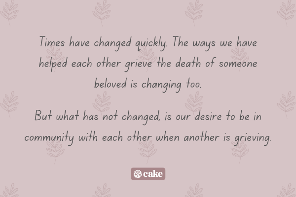 Text about helping others while grieving overlaid on a leaf pattern