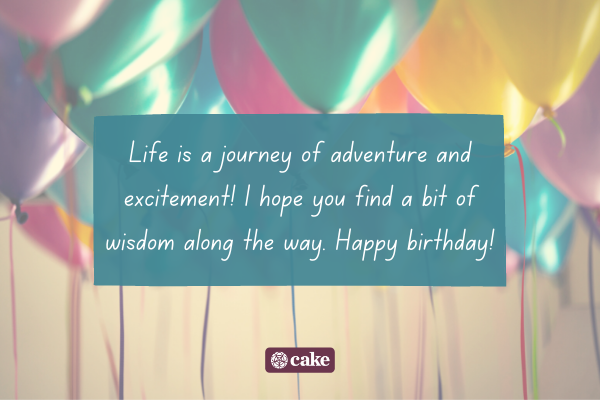 Birthday greeting with an image of balloons in the background