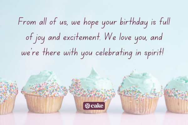Birthday greeting with an image of cupcakes