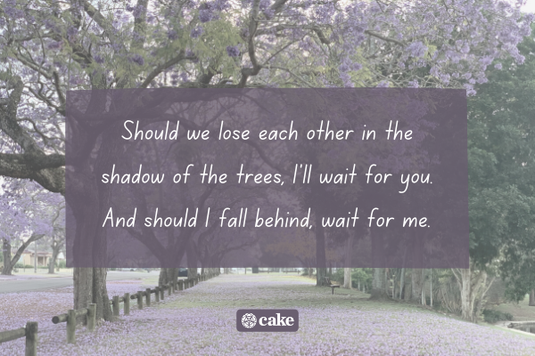 Example of a headstone quote for parents with an image of trees in the background