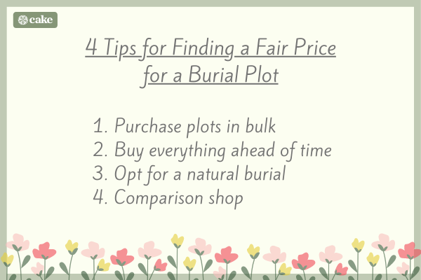 List of tips for finding a fair price for a burial plot
