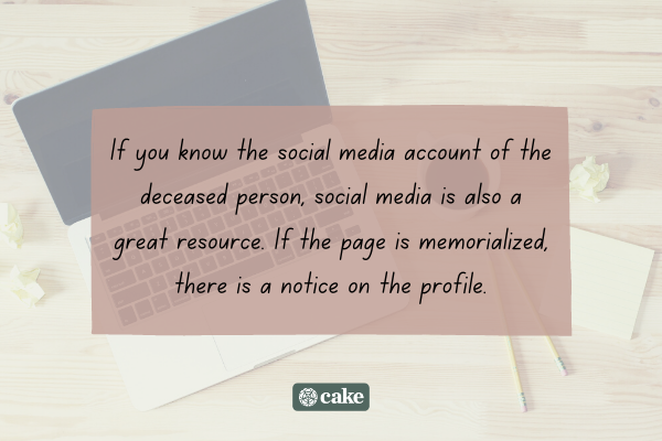 Tip on how to find out if someone died using social media with an image of a laptop in the background