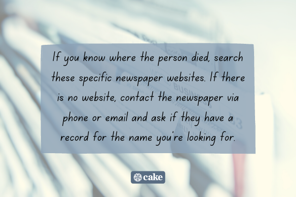 Tip on how to find out if someone died by searching newspapers with an image of newspapers in the background