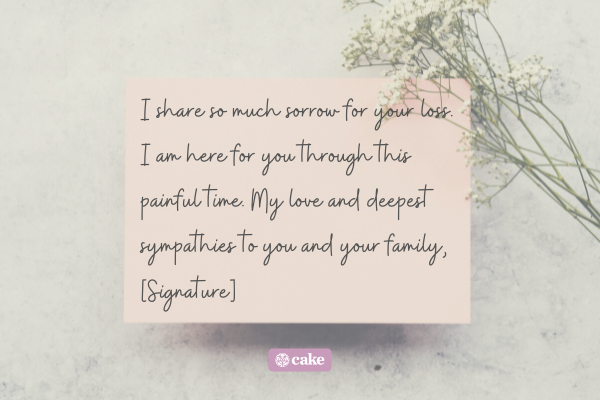 Example of a sympathy card signature
