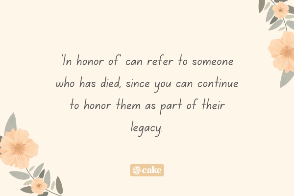 Text describing what 'in honor of' means with images of flowers and leaves