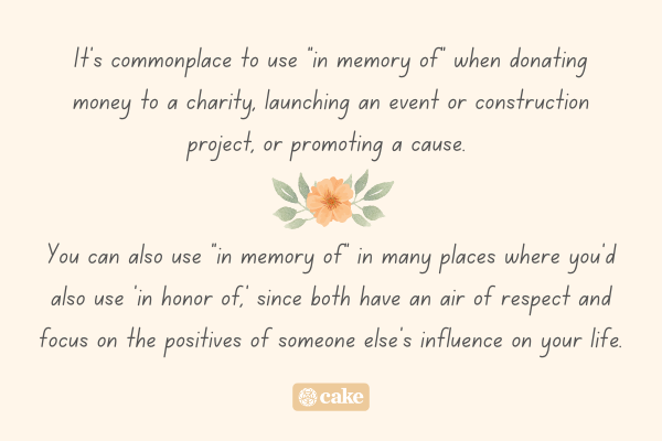 Text describing what 'in memory of' means with an image of a flower and leaves