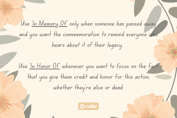 Text describing when to use 'in memory of' and 'in honor of' with an image of flowers and leaves