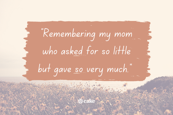 Example of how to say 'in loving memory' of a mom or dad with an image of a field of flowers in the background